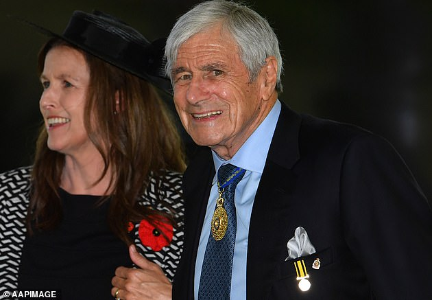 Mr Roberts-Smith has taken leave as boss of the Seven Network's Queensland operations for the duration of the hearing. His case is being bankrolled by Seven's owner, billionaire Kerry Stokes (pictured with wife Christine)