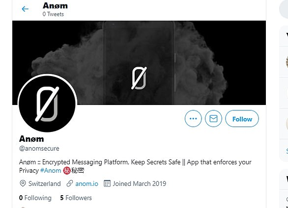 Anom's Twitter account claimed the company was based in the famously neutral nation of Switzerland