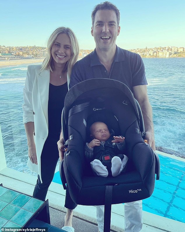 Exhausted: Just weeks after welcoming Henry, Sylvia celebrated her 35th birthday, and revealed at the time she was 'so tired, but never [felt] better'