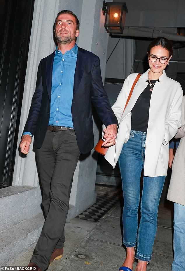 Dinner date: Jordana Brewster couldn't stop smiling as she left celebrity hotspot Craig's in West Hollywood on Monday night hand in hand with boyfriend Mason Morfit