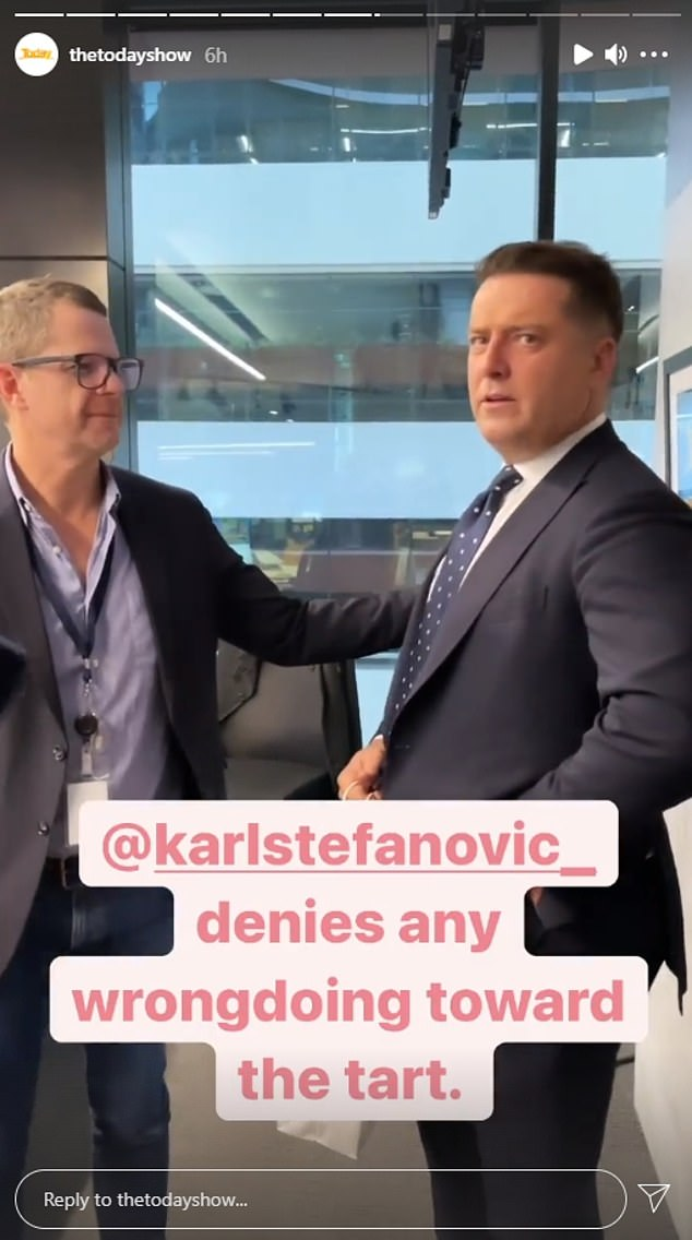 Fuming! Karl Stefanovic raged to his Today show boss on Tuesday in a hilarious Instagram post - after he was accused of stealing a pie on-set