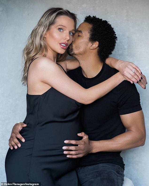 Wedding bells? Helen Flanagan, 30, has fuelled speculation that she has tied the knot with her fiance Scott Sinclair, 32, after she referred to him as 'hubby' several times on social media