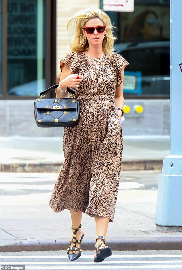 Stunning: The 37-year-old hotel heiress stunned in the animal print ensemble as she pounded the pavement in SoHo