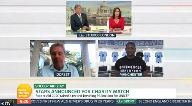 Loving life:Chatting to the former footballer as well as Harry Redknapp, the team seemed in great spirits as they discussed the return of Soccer Aid