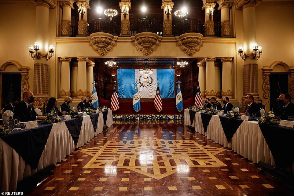 The bilateral meeting between Harris, Giammattei and their team was heldPalacio Nacional de la Cultura
