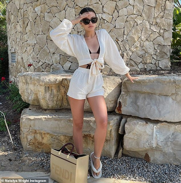 Fun in the sun:It comes after her sister Natalya, 20, shared more snaps from her holiday in the Algarve, Portugal with her boyfriend Tommy