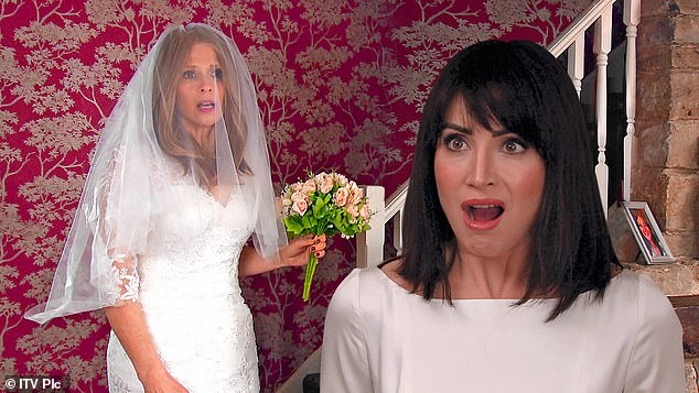 Bernice turns up to her ex's big day wearing a wedding dress in Emmerdale. Pictured: Bernice (left), with Lyla in her wedding dress