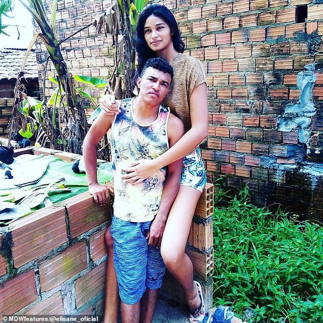 Love: Elisane and Francinaldo's nearly two-foot height difference has never been an issue in their relationship