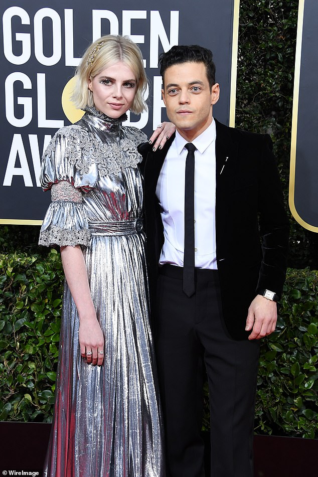 Couple:Rami and Lucy Boynton have been dating since 2018 after meeting on the set of Bohemian Rhapsody (pictured 2020)