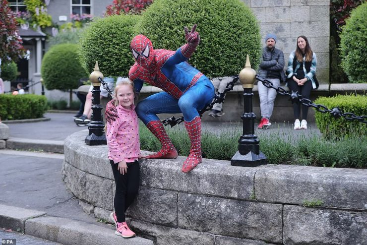 look who it is!There was further excitement in town as someone in a Spiderman costume swung by to take some fun snaps