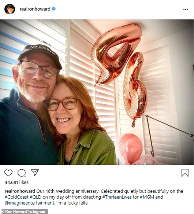 Still going strong:Ron Howard celebrated his 46th wedding anniversary with wife Cheryl Howard on Monday. The movie veteran shared a sweet image to Instagram with his spouse as they snuggled for the camera