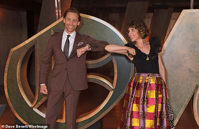 Stars: Tom,who stars as the title character in the Disney+ series, was joined at the event by his co-star Sophia Di Martino