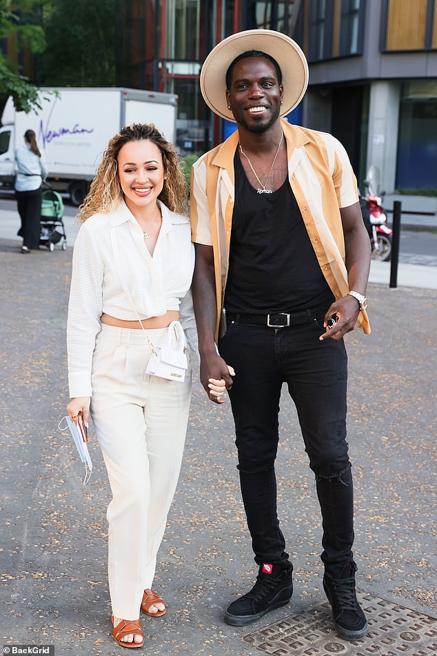 Night off:Marcel Somerville and fiancée Rebecca Vieira looked loved-up as they enjoyed a break from parenting duties at special screening of the new Disney+ show Loki on Tuesday