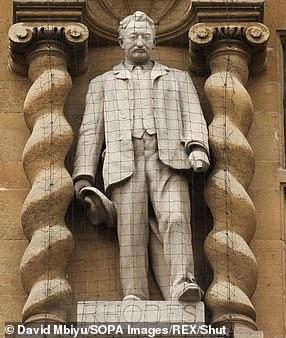 The statue of Cecil Rhodes outside Oriel College