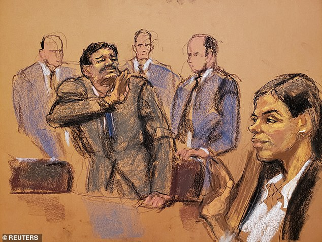 Guzman waves at his wife in a court sketch during a sentencing hearing, on July 17, 2019