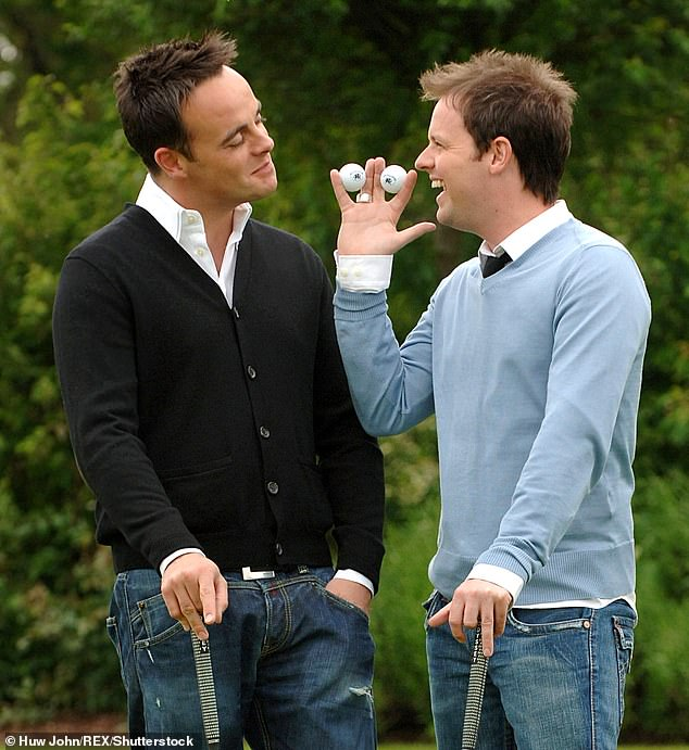 Chilled:This time around, the Saturday Night Takeaway star, who has been sober since 2018 following his drink-drive shame, played a round or two of golf (pictured with Dec in 2006)