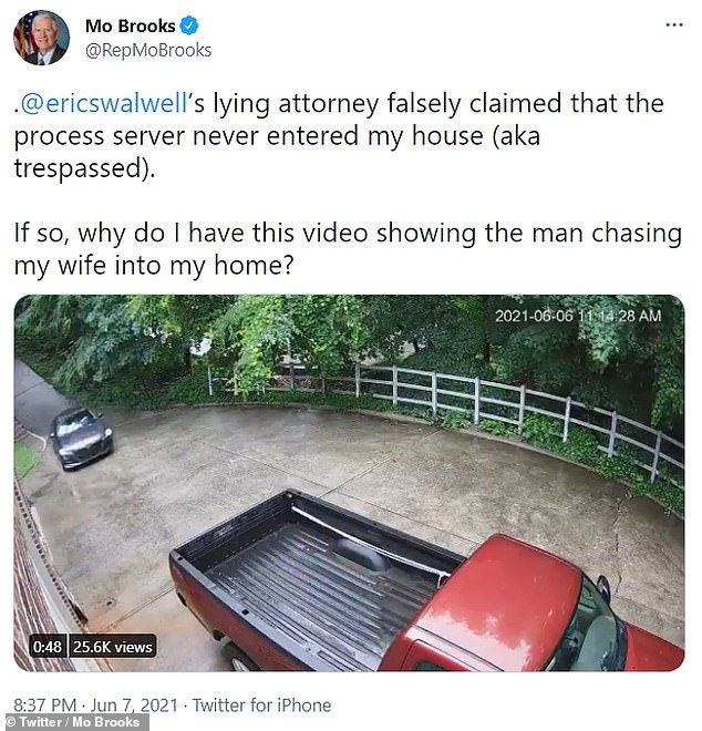 Brooks posted the video on Twitter and accused the server of breaking the law in trespassing