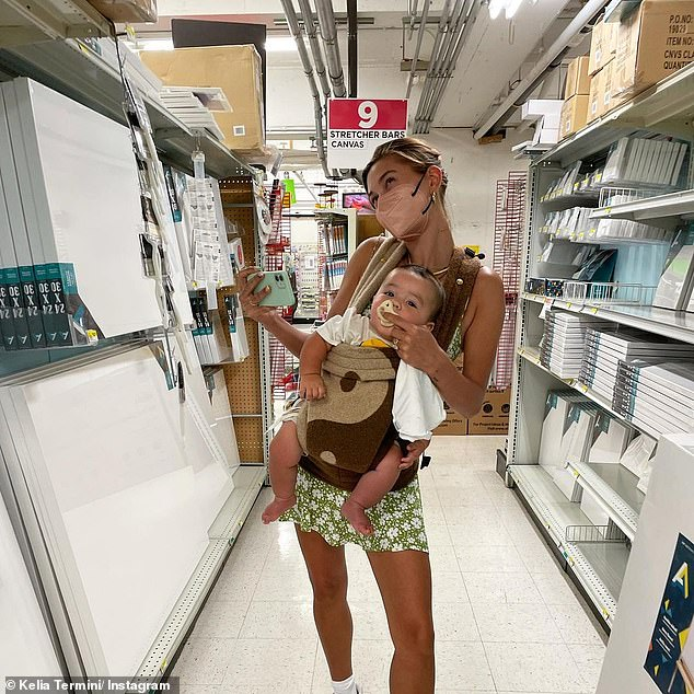 Maternal:Giving fans a closer look at Hailey's maternal instincts, Kelia shared another snap of the model cradling the little one