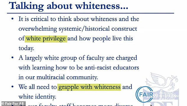 Documents provided by FAIR show the posh school's teachings on whiteness