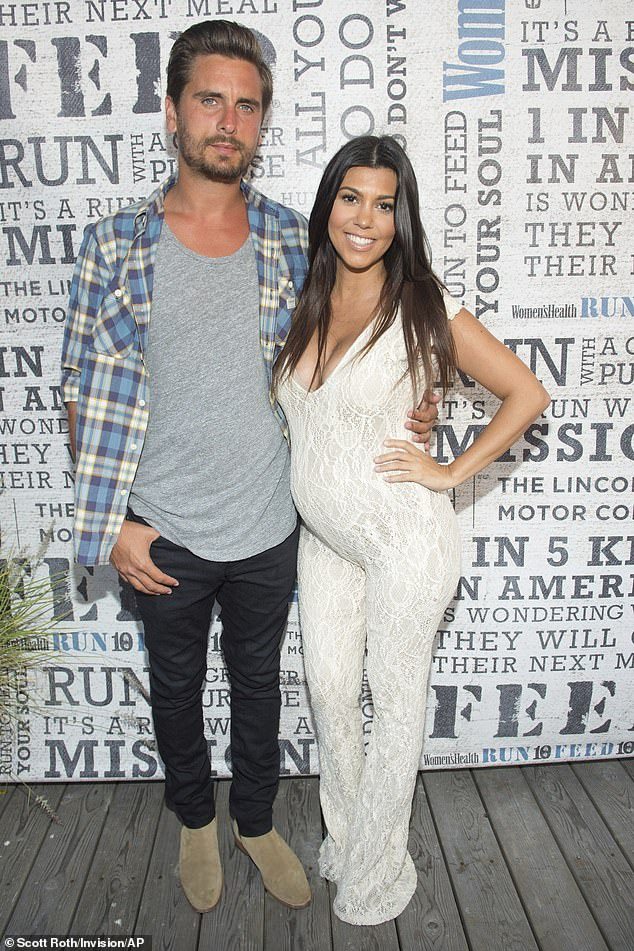 Former flames:The former couple, who split in 2015 after a decade together, share three children, sons Mason, 11, Reign, six, and daughter Penelope, eight; Scott and Kourtney pictured in 2014
