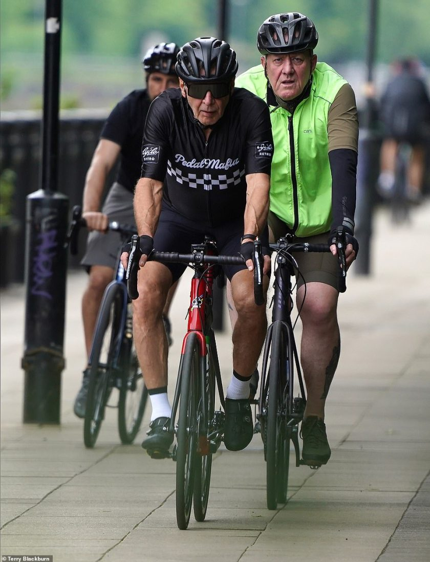 Hunk: Harrison showed off his toned frame in cycling gear as he rode with friends