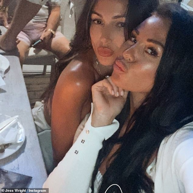 Updates:The former TOWIE star's, 35, sister Jess Wright took to Instagram on Monday to share several updates from the trip which included dinner at Maria's in Almancil, Algarve