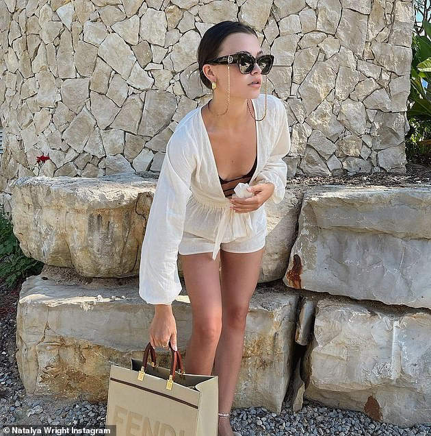 Ready to roll: The internet star, who has more than 297,000 followers on Instagram and is the sister of former The Only Way Is Essex stars Mark and Jess Wright, dressed perfectly for the summer in a post