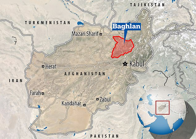 The attack came at around 10pm local time on Tuesday in Baghlan province (pictured on map), where fighting has been heavy in recent weeks