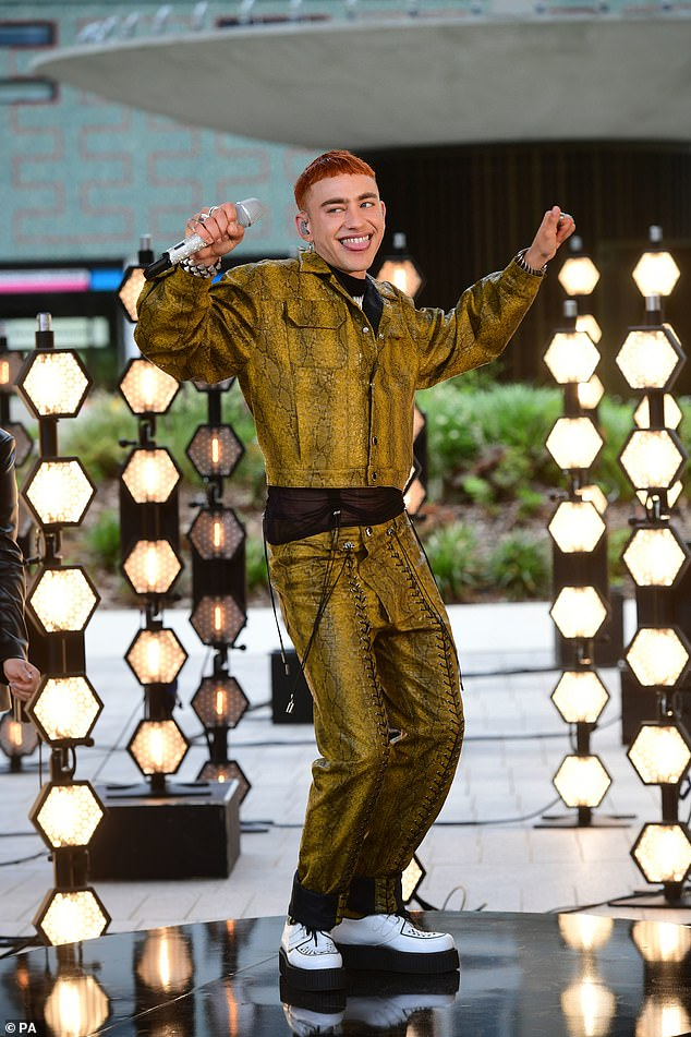Showman: Olly performed at the BAFTA TV Awards at Television Centre in London on Sunday