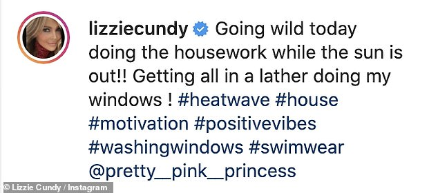 Household chores: TV personality, 53, put on a stylish display in a multi-colored tie-dye plunge swimsuit to do some housework in the sun