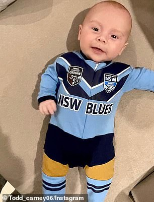 He's a blues boy! Little Lion had plenty to smile about withNSW defeating Queensland 50 to six