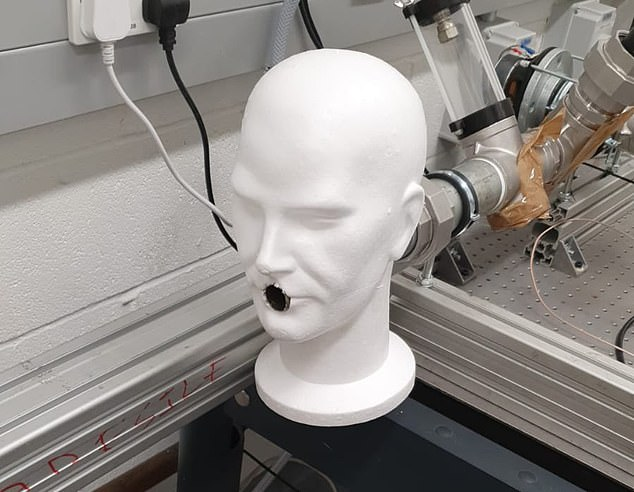 Scientists at University College London used androids with special ventilators (pictured) to determine how many aerosols survived when a machine exited while wearing a face mask