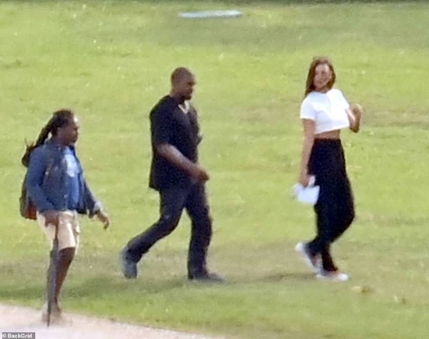Kanye and his crew: The rapper was also accompanied by a group of team members who kept a careful watch over the pair
