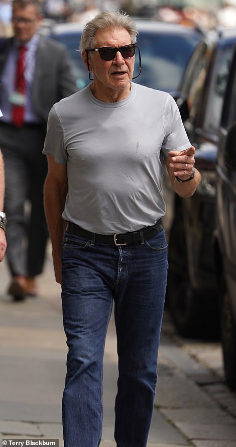 Looking good: Harrison Ford looked on fine form as he soaked up the sun while taking in the sights of Newcastle Quayside during a break from filming on Wednesday