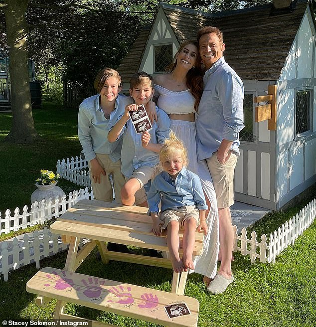 Growing family: Stacey, 31, revealed on Wednesday that she is pregnant with her fourth child, as she shared an adorable family snap
