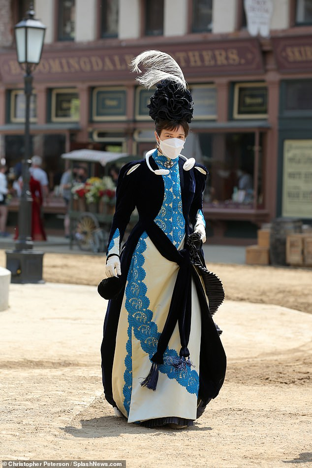 Action!On Tuesday, Big Love alum Jeanne Tripplehorn was decked out in 1882-era period costume attire as she reported to the Troy, New York set of HBO's 10-episode series, The Gilded Age