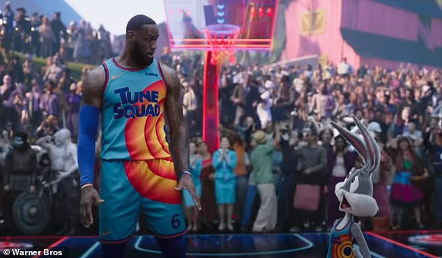 Getting pumped: Lola Bunny gave the team a motivational speech during the trailer, which led Bugs to remark, 'if we're going out, we're going out looney'
