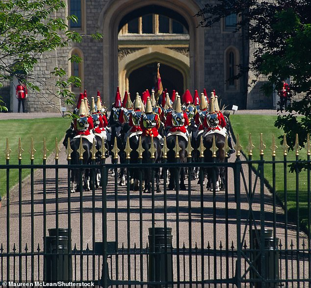 The small ceremony will begin at 11am on Saturday and is expected to last a couple of hours. Pictured, the fullrehearsal taking place today