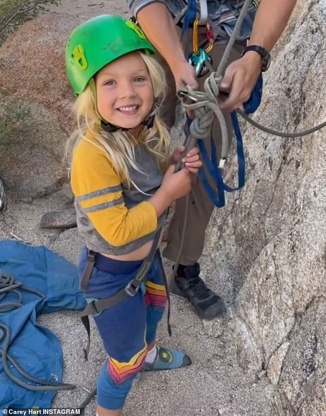 Proud parent: Pink's husband, Carey Hart, shared several images that were taken during the couple's children's very first rock climbing excursion to his Instagram account on Wednesday; seen here is Jameson