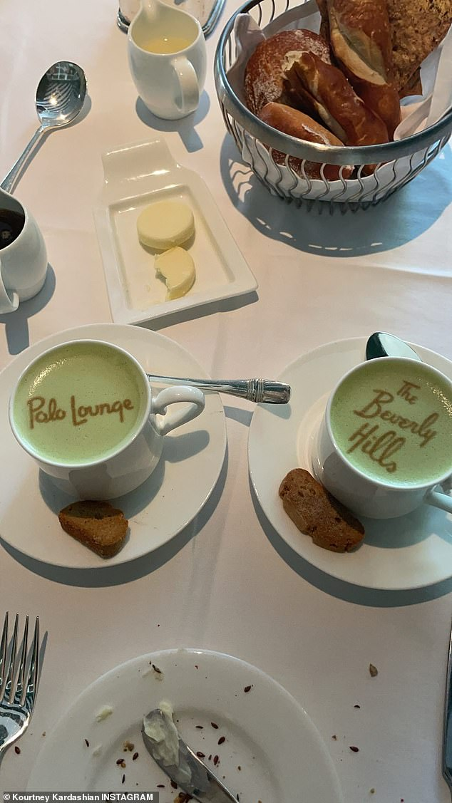 Eating in luxury! The couple snapped the coffee art while dining at The Beverly Hills Polo Lounge