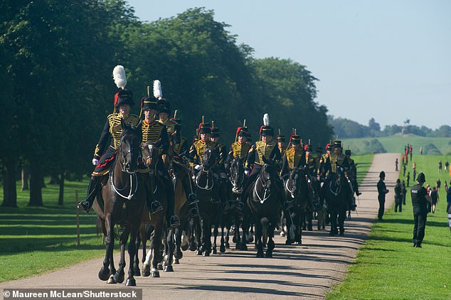 Earlier today, rehearsals took place for Her Majesty's birthday celebration,Trooping the Colour, at Windsor Castle (pictured)