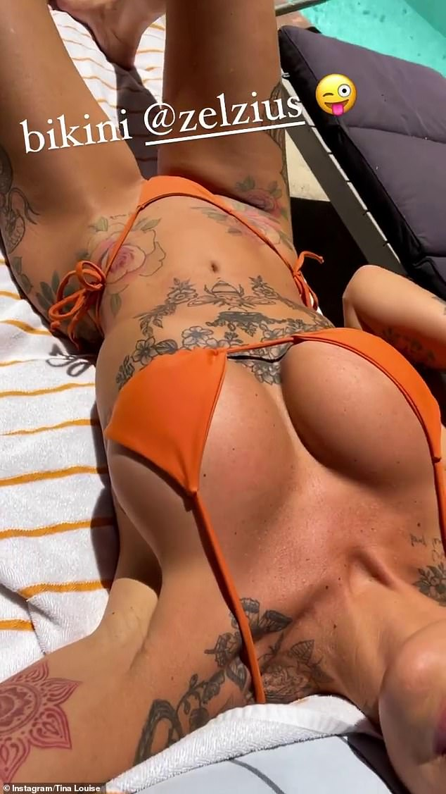 Sizzling:Later, she shared several photos of herself tanning by the pool