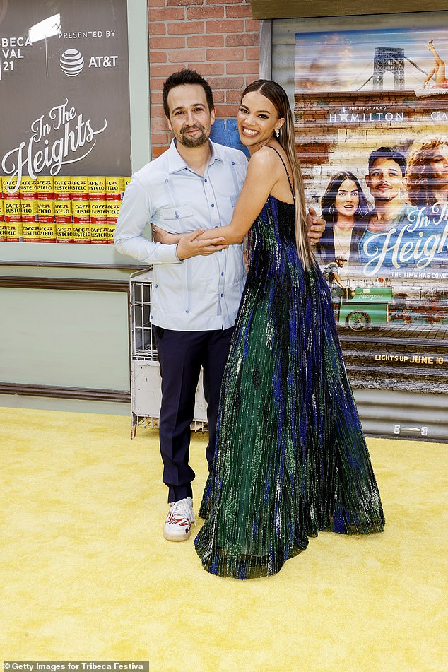 Lin-Manuel Look: Miranda stepped out for the event at the United Palace Theater in New York City wearing a light blue shirt (pictured with actress Leslie Grace)