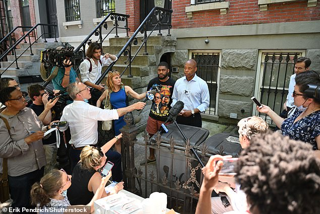 The president of the borough of Brooklyn staged a press conference, beside his son, Jordan, 25, to insist that he did live in the property