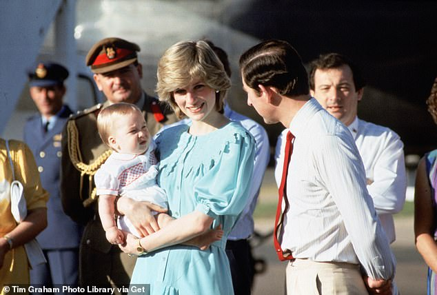 Welcome return: Diana later returned to Australia for a royal tour after marrying Charles and welcoming son Prince William (left). Pictured after arriving in Australia in March 1983