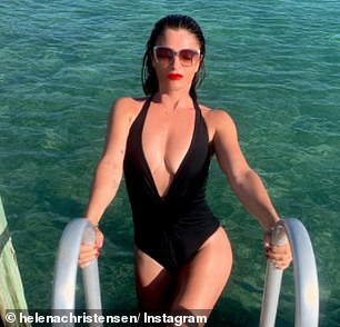 Sexy: Helena joked her 'boobs grew' as she flaunted her incredible cleavage in the post