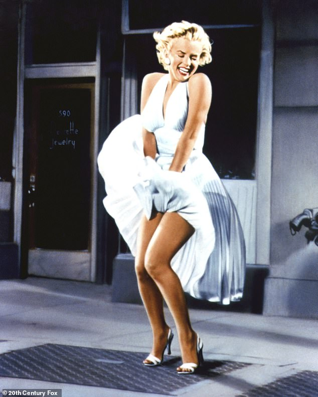 Inspired style: Many fans couldn't help but compare Carrie to another famous blonde, Marilyn Monroe (pictured in the 1955 movie, The Seven Year Itch)