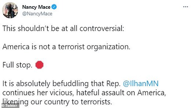 South Carolina Rep. Nancy Mace said it 'shouldn't be at all controversial' to say that America is 'not a terrorist organization'. She called on Omar to resign