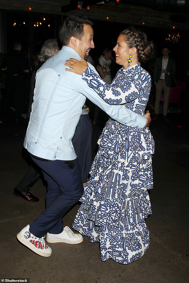 Dancing All Night: Lin-Manuel Miranda and his wife Vanessa Nadal looked every inch at the beloved couple while enjoying the after-party premiere in the Highlands in New York City on Wednesday