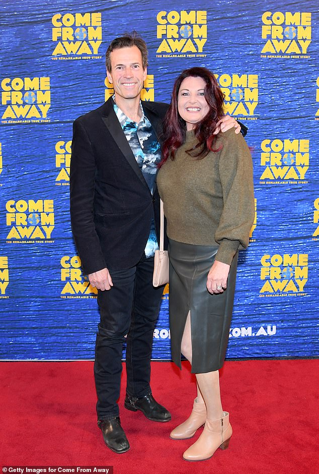 Date night: Brendan Jones was also on hand for the opening night, accompanied by his wife, Helen